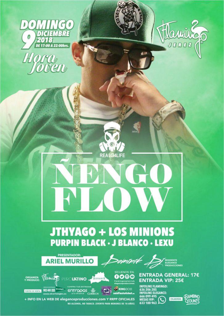Flyer A6 (cara A) Ñengo Flow Hora Joven (Dom.9.Dic) Flamingo (Jerez)