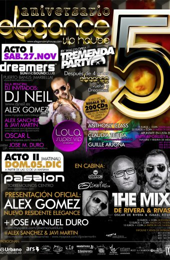 Cartel A3 5to anversario Elegance Dreamers y Passion disco 27.Nov