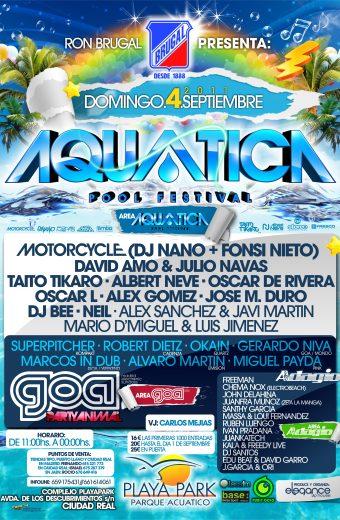 Cartel A3 Aquatica Pool Festival Dom.4.Sept.2011 PlayaPark (Ciudad Real)