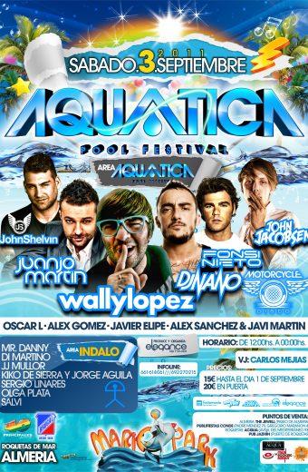 Cartel A3 Aquatica Pool Festival Sab.3.Sept.2011 MariosPark (Almeria)