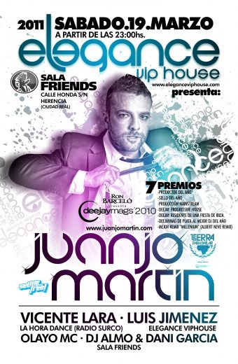 FLYER Elegance Viphouse - Juanjo Martin - Sab.19.Marzo - Sala Friends (Ciudad Real) CARA A