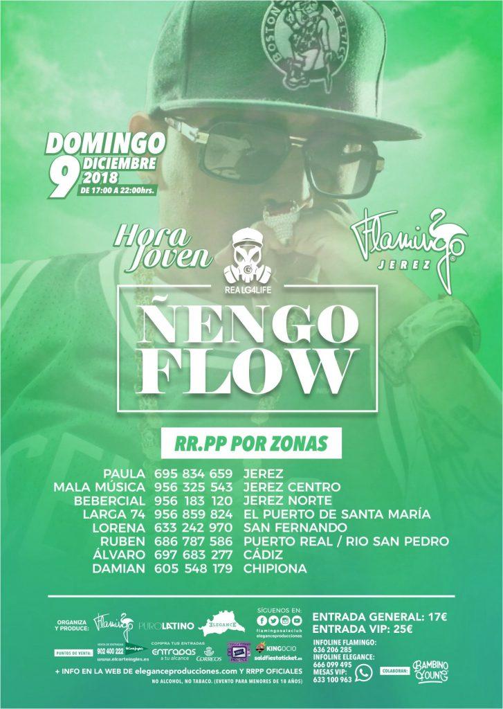 Flyer A6 (cara B) Ñengo Flow Hora Joven (Dom.9.Dic) Flamingo (Jerez)